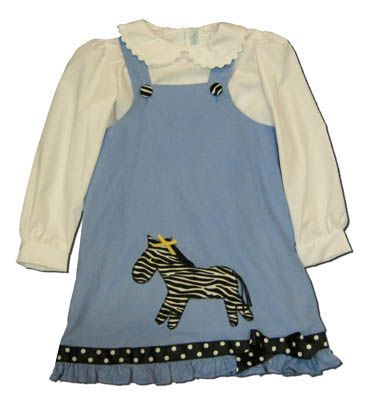 Funtasia Too girls clothes Zebra Falls blue jumper with a zebra on the front and a white blouse to go under it. Very comfortable and matches the boys.