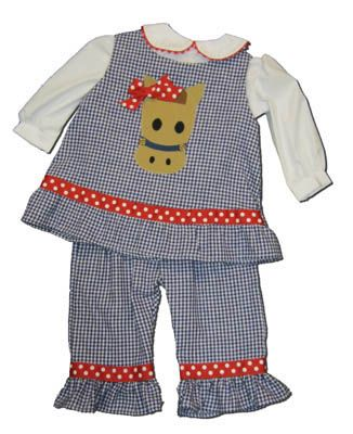 Funtasia Too girls infant clothes Horse Lane blue and white checked popover set with a horse head appliqued on the front. Matches the boys and so fun for your horse lover.