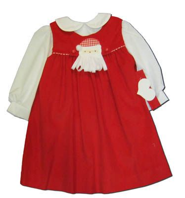 Funtasia Too girls infant clothes I Love Santa red yoke jumper with a button on Santa or heart. Matches the boys and is perfect for festive occasions.