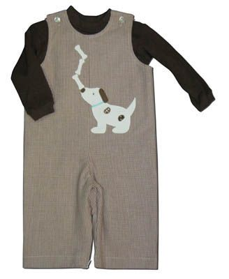 Funtasia Too Give a Dog a Bone cute overalls with dog and three bones on the front. Comes with a brown turtleneck. Fun for your boy.