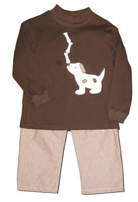 Funtasia Too Give a Dog a Bone soft brown turtleneck with a dog and three bones on the front. Comes with matching checked pants. Very comfortable and a popular style.