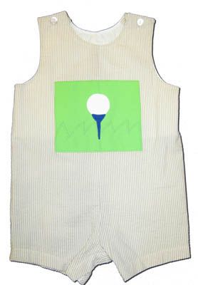 Funtasia Too Golfer Kid shortall with a golfball appliqued.