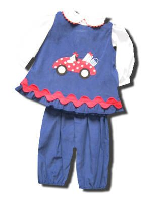 Funtasia Too Gone Fishin blue popover set with a dog driving a car with shopping bags and matching white peter pan blouse. Super cute and matches the boys.