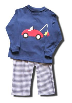 Funtasia Too Gone Fishin cute pant set with a blue turtleneck and dog driving a car on the front. Super cute and great for school and play. Matches the girls.