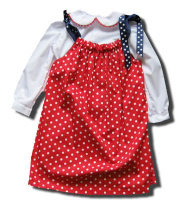 Funtasia Too Gone Fishin red with white polka dots reversible pillowcase dress with a peter pan blouse and ties at the shoulder. Super cute and a popular style.