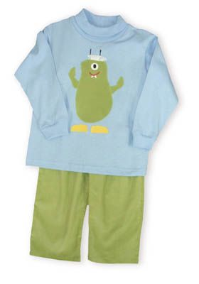 Funtasia Too Googly Eye blue turtleneck with a one eyed green monster on the front with yellow shoes. Comes with matching green corduroy pants.