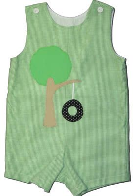 Funtasia Too Green with Envy green checked shortall with a tire swing on the front. A classic style and a must have.