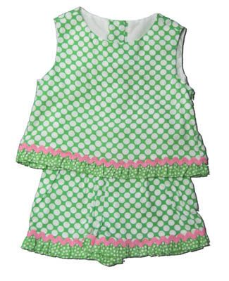 Funtasia Too Green with Envy green with white polka dots crop top short set that is super cute and a great summer outfit.