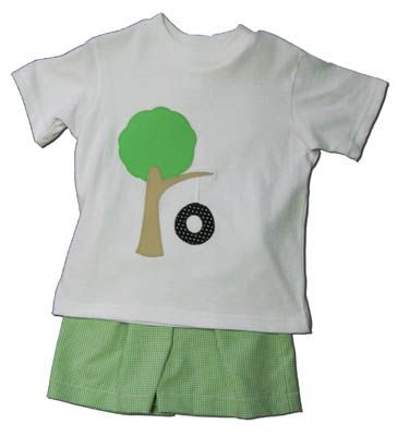 Funtasia Too Green with Envy short set with a tire swing on the shirt and lime checked seersucker shorts. A great outfit for everyday school and play.