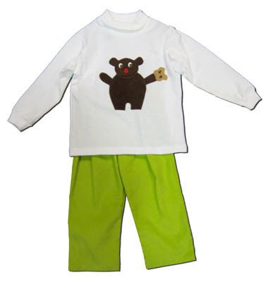 Funtasia Too Handsome Lil Teddy cute white turtleneck with a teddy bear on the front and matching green corduroy pants. Adorable and perfect for your handsome man. Matches the girls.