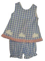 Funtasia Too Happy Bunnies blue and white checked popover set with three bunnies on the front. Sweet.