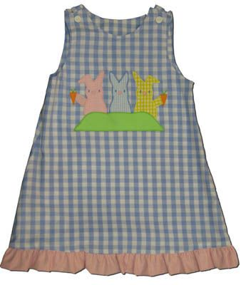 Funtasia Too Happy Bunnies blue and white checked reversible jumper with three bunnies on the front. Has ladybugs on the reverse side.