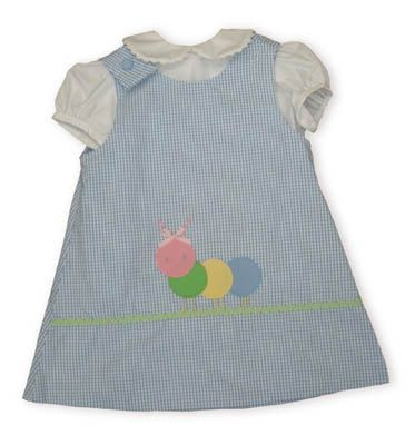 Funtasia Too Harmony the peaceful Caterpillar blue and white checked jumper with white blouse with ric rac on the collar buttoning in the back. Reversible.