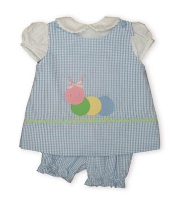 Funtasia Too Harmony the peaceful Caterpillar blue and white checked popover with white blouse with ric rac on the collar buttoning in the back and blue and white checked bloomers. Reversible.