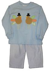 Funtasia Too Harvest Holidays blue pant set with turkeys on the front. Gobble up this outfit while supplies last.