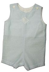 Funtasia Too Henry blue checked seersucker shortall. Classic and great for monogramming or just to wear.