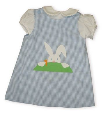 Funtasia Too Hippity Hop blue and white checked jumper with a mischievous little bunny peeping over a bush and a white blouse with with rac along the collar buttoning in the back. Reversible.