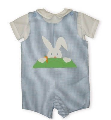 Funtasia Too Hippity Hop blue and white checked shortall with a mischievous little bunny peeping over a bush and a white pipe collar shirt buttoning in the back. Reversible.