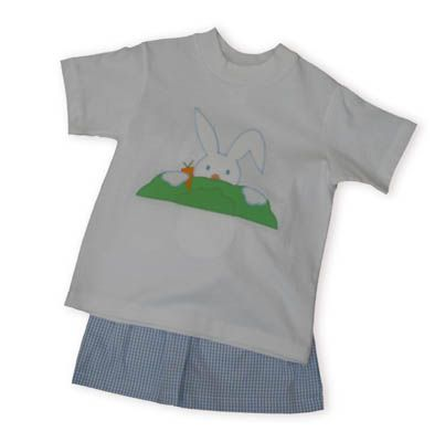 Funtasia Too Hippity Hop soft white cotton shirt with a bunny rabbit peeping over a bush with comfortable blue and white checked shorts.