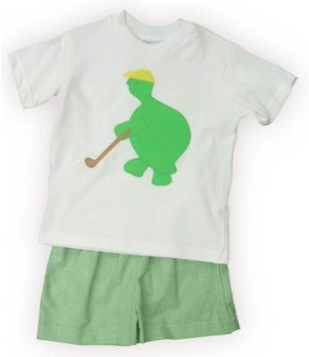 Funtasia Too Hole in One white shirt with a turtle golfing and matching green and white checked shorts. Super fun for your golf pro.