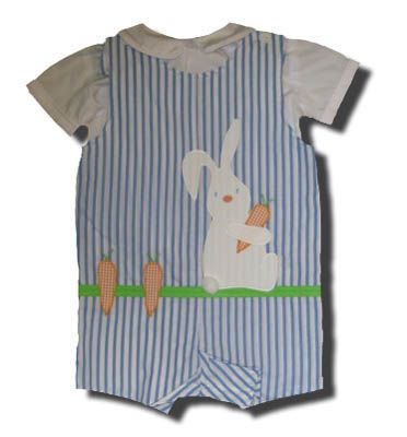 Funtasia Too Honey Bunny blue striped reversible shortall with a bunny on the front and peter pan shirt. Matches the girls.