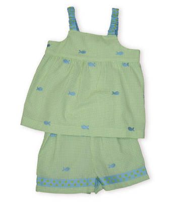 Funtasia Too Hook, Line, and Sinker lime green and white striped seersucker swing top with appliqued fish all over it and matching shorts.