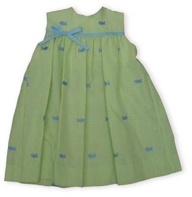 Funtasia Too Hook, Line, and Sinker lime green and white striped sundress with embroidered fish all over it and ribbon and bow.