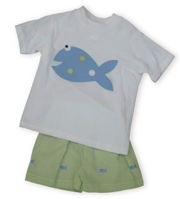 Funtasia Too Hook, Line, and Sinker white shirt with a fish on it and matching lime and white seersucker shorts with little fish appliqued all over them.