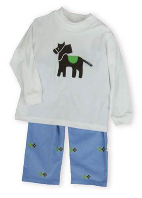 Funtasia Too Horse Tales white turtleneck with a horse on it and matching blue corduroy pants with horses embroidered.