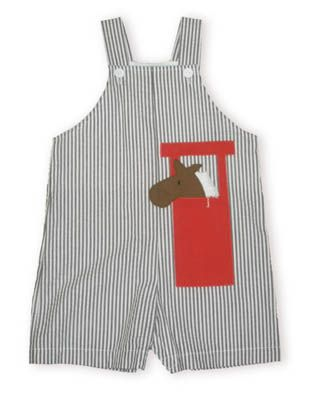 Funtasia Too Horsin` Around brown and white striped shortall with a horse and stable appliqued on it.