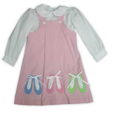 Funtasia Too I Love Ballet jumper and blouse set with a soft pink fine corduroy jumper with appliqued ballet shoes and a white blouse with ric rac.