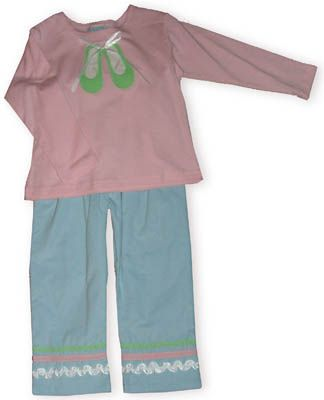 Funtasia Too I Love Ballet pants set with soft mint knit top with ballet shoes and pink fine corduroy pants.