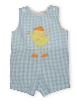 Funtasia Too Jacob the baseball playing chicken blue and white checked shortall with a chicken carrying a ball and bat.