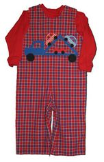 Funtasia Too Keep on Trucking red plaid longall with a car carrier. Turtleneck not included.