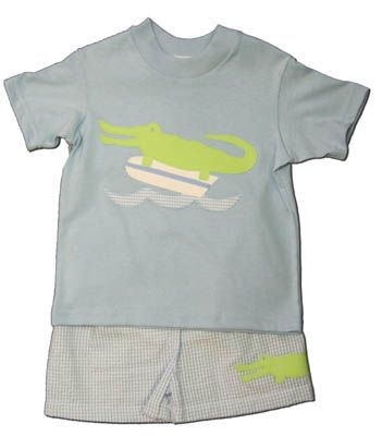 Funtasia Too Later Gator cute swim set with an alligator on the blue shirt and blue checked seersucker swimtrunks with an alligator on them. Very cute and a very popular style. Coordinates with the girls.