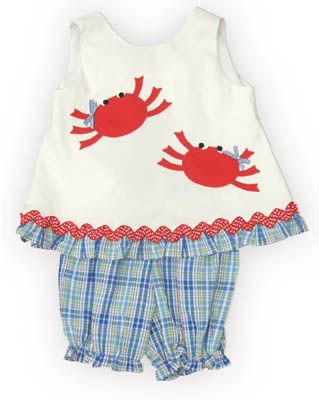 Funtasia Too Let`s Go Crabbing blue, red, and white popover set with two crabs on the shirt. Super cute, a popular outfit, and matches the boys.