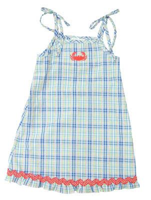 Funtasia Too Let`s Go Crabbing blue, red, and white sundress with a crab on the front and it ties at the shoulders. So fun, comfortable, and matches the boys.