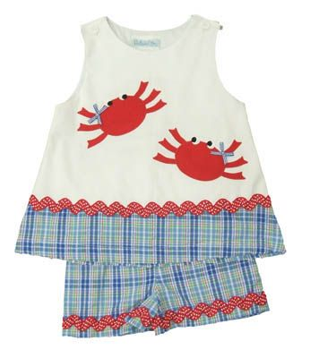Funtasia Too Let`s Go Crabbing blue, red, and white swing top set with two crabs on the shirt. A manager recommended and matches the boys.