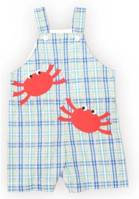 Funtasia Too Let`s Go Crabbing boy baby clothes blue, red, and white shortall with two crabs on the front. So fun, comfortable, and matches the girls.