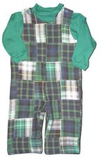 Funtasia Too Let's Hear It For The Boys cute patchwork longalls with a green turtleneck. Handsome for your little man.