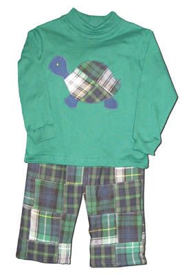 Funtasia Too Let's Hear It For The Boys green turtleneck with a turtle on the front and matching patchwork pants. Very soft and a must buy. A manager's recommended outfit.
