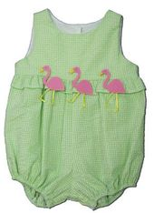 Funtasia Too Lime Drop green checked seersucker bubble with three flamingos on the front. Cute and sassy.