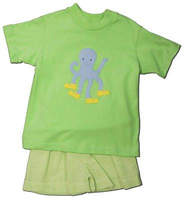 Funtasia Too Lime Drop short set with an octopus on the front and green checked shorts. Comfy and cute.