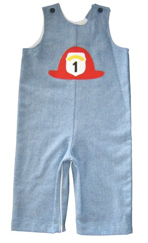 Funtasia Too Little Firefighter Hero Longall with a Fireman's Hat appliqued.