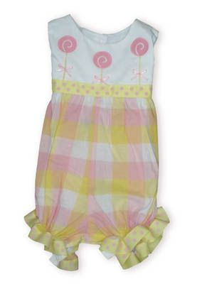 Funtasia Too Lollipops for Me bubble with three lollipops on the bodice and multicolored pastel checks on the bottom.
