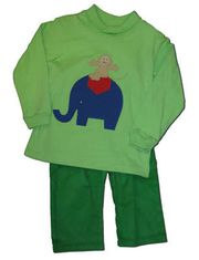 Funtasia Too Look at Me on the Elephant pant set with elephant appliqued on shirt and matching pants.