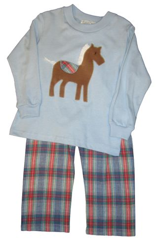 Funtasia Too Look at the Horse Pant set with a Horse appliqued on a soft knit short and matching pants.
