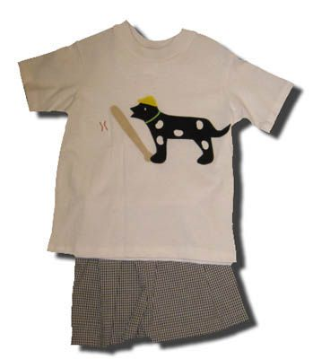 Funtasia Too Loty Dotty short set with a dog playing baseball on the front. Comfortable for school and play.