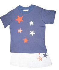 Funtasia Too Love Counting Stars Boys Swim Set with Stars Appliqued on Soft Shirt and Swim Trunks.