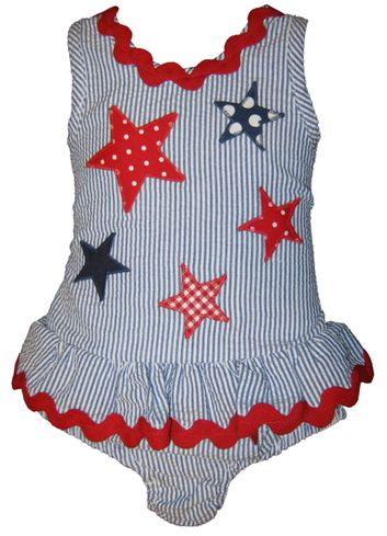 Funtasia Too Love Counting Stars Girls One Piece Swimsuit with Stars Appliqued. Soft and Durable.